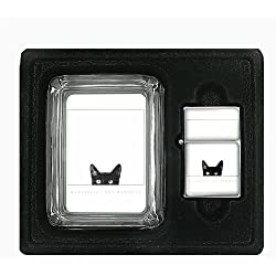 Black Cat Curiosity Very Cute Glass Square Ashtray with Oil Lighter D-024