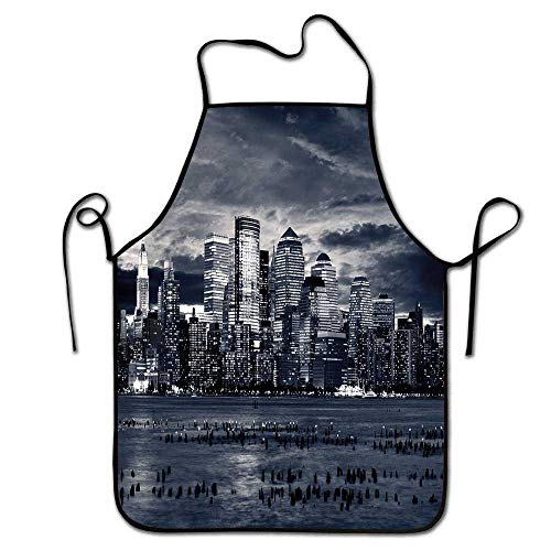 City Apron Party Dramatic View of New York Skyline from Jersey Side Clouds Buildings Bartender Apron Men Charcoal Grey Black -