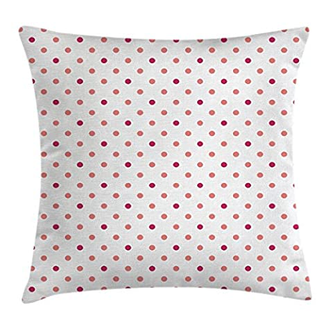 Coral Throw Pillow Cushion Cover by Ambesonne, Classical Retro Style Soft Colored Polka Dots Tile Small Spots Symmetrical, Decorative Square Accent Pillow Case, 16 X 16 Inches, Coral Hot Pink - Polka Dots Teen Bedroom