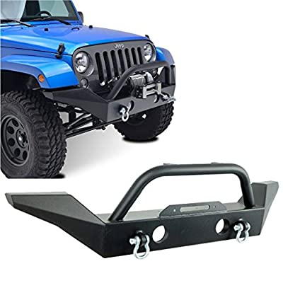 Restyling Factory 07-16 Jeep Wrangler JK Full Width Front Bumper With Fog Lights Hole and Winch Plate Built In -Textured Black