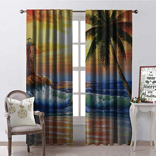 Hengshu Scenery Watchtower Sea Coconut Tree Multicolor Blackout Window Curtain Customized Curtains W108 x -