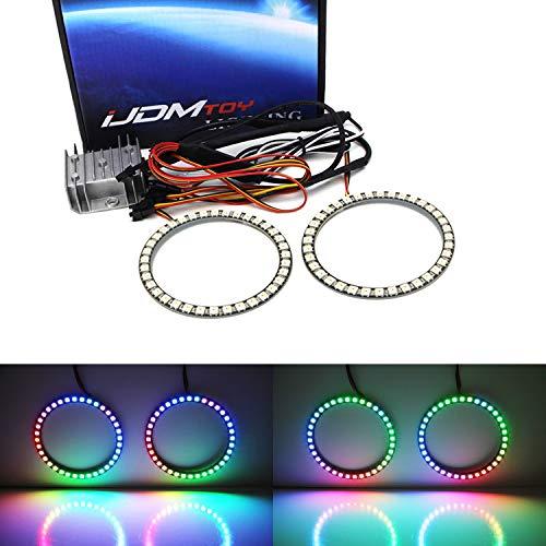 iJDMTOY (2) Universal 80mm RGBW Color Shifting Flashing 60-SMD LED Angel Eye Halo Ring Lighting Kit w/RF Wireless Remote Control For Headlight Retrofit
