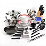 Essential Home Total Kitchen Cookware, Utensil 83 Pc Combo Set (Red)