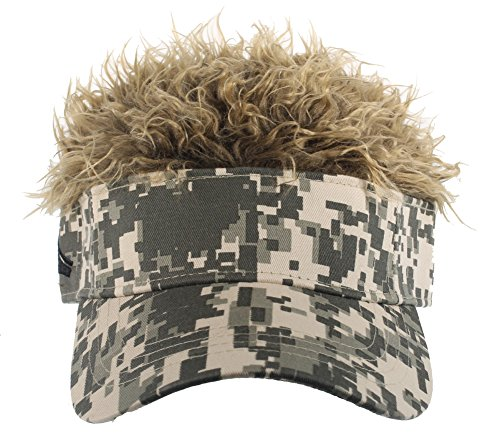 Flair Hair Men's Camo Visor and Hair, Brown, One ()