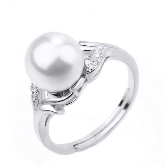 Gespout Bague pour Femme Anneaux Perle blanche Bijous Cadeau d anniversaire  Fashion Élégant Décoration idéale 191f51062ef