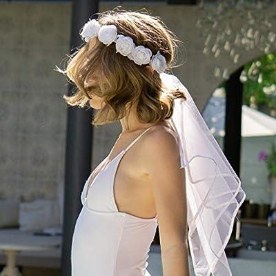 xo, Fetti Bachelorette Party Veil - Boho Flower Crown | Bridal Shower Veil | Bride to Be Gift, Bachelorette Favor + Engagement Decoration