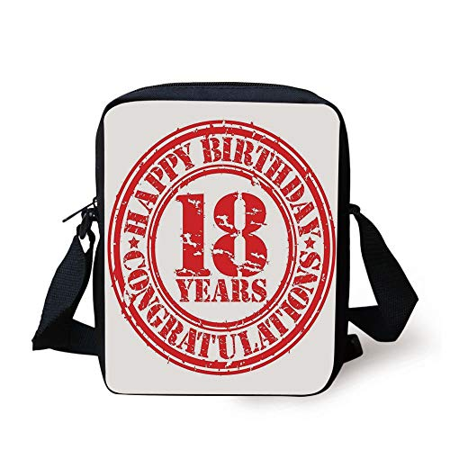 18th Birthday Decoration,Vintage Happy Birthday Sweet Eighteen Stamp Icon Image Print,Red and White Print Kids Crossbody Messenger Bag Purse