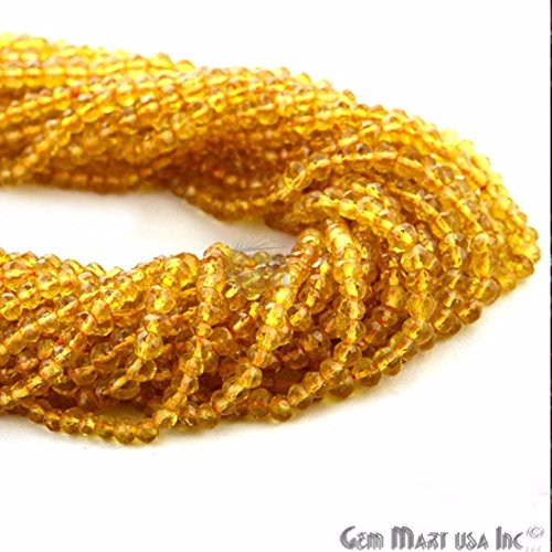 1 Strand Micro Faceted Gemstone Citrine Rondelle Beads 3-4mm 13