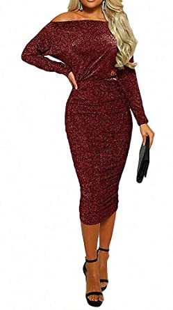 d9a7d252a1 Womens Cocktail Dress - Sexy Elegant Sparkly Sequin Glitter Off Shoulder  Bodycon Party Midi Dress Red