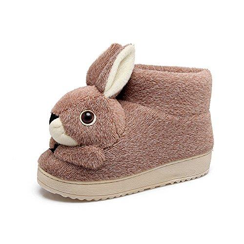 Y-Hui Indoor pantofole di cotone Arredo Casa Bella coniglio Anti Slip borsa con caldo inverno scarpe di cotone,245 (per 36, 37 piedi),caffè