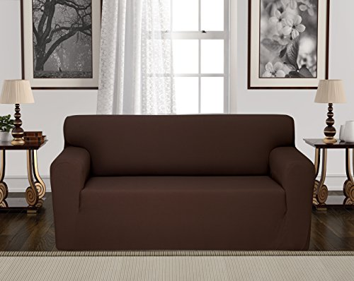 Anti-Slip Jacquard 1-Piece Spandex Stretch Elastic Pet Dog Sofa Couch Cover Slipcover Non-Slip Arm-chair Love-Seat Furniture Protector Shield 1 2 3 Seater T Cushion L Shaped (Loveseat - Brown)