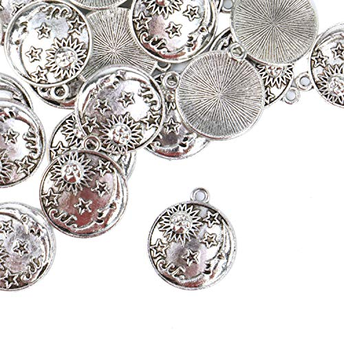 Monrocco 60 Pack Antique Silver Round Disc Floating Planet Sun Moon Star Charms Pendant Bulk for Bracelets Jewelry Making