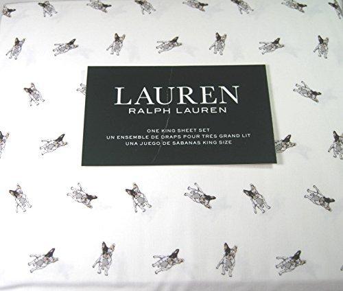 Lauren 4 Piece King Size Sheet Set Boston Terrier Dogs 100% Cotton