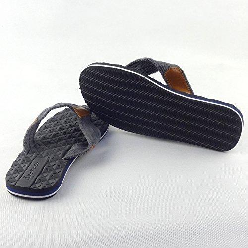 Chfso Herencomfort Outdoor Geweven Strandleren Slippers Duurzame Flip Flops Zwart