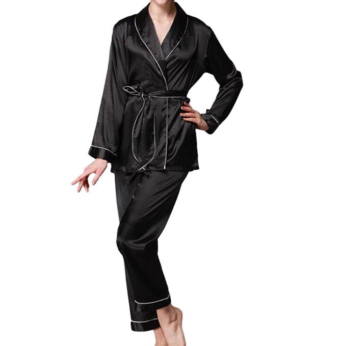 Xinvision Niña Mujer Lujo Seda Satín Turndown Collar Camisón Conjunto de pijamas Mangas largas Top Pants