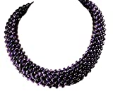004 Ny6design Purple Amethyst Hand Beaded Silver Plated Necklace 18'' N14042304c