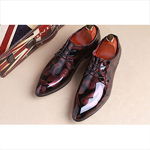 O & N Mens Moderno Lace Up In Pelle Oxford Dress Scarpe Business Casual Scarpe Rosse