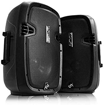 Par de Altavoces PA con Bluetooth, pie de Altavoces micrófono y Mando a Distancia Pyle, subwoofer de 25,4 cm con Puerto USB, Lector de Tarjetas SD, ...