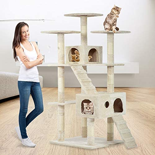 Bigacc 72 inch Cat Tree, Tall Multi-Level Cat Tower Cat Condo with Funny Toys, Kitty Activity Tree Center Cat Play House
