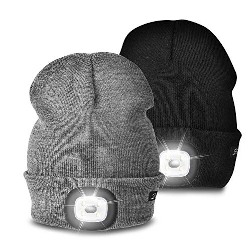 Etsfmoa Unisex LED Beanie Hat with Light, Gifts for Men Dad Women USB Rechargeable Winter Knit Lighted Headlight Hats…