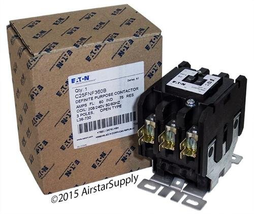 Contactor Pole 480vac Coil Single (Eaton C25FNF360B Definite Purpose Contactor, 50mm, 3 Poles, Box Lugs, Quick Connect Side By Side Terminals, 60A Current Rating, 5 Max HP Single Phase at 115V, 20 Max HP Three Phase at 230V, 40 Max HP Three Phase at 480V, 208-240VAC Coil Voltage)