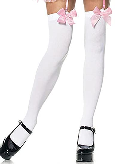 c259f138801ae0 Amazon.com: Thigh Highs with Satin Bows Adult Hosiery White with ...