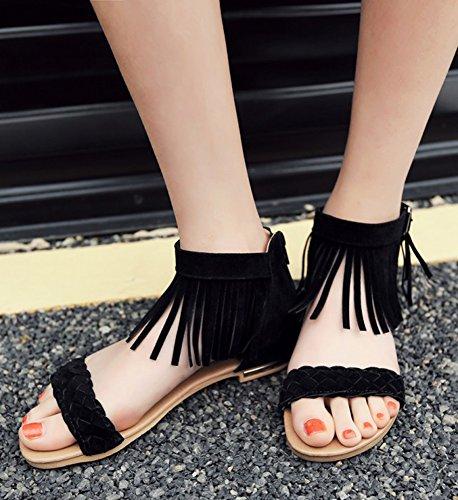 Aisun Femmes Fringed Glands Tissés Dos Fermeture À Glissière Boucle Ouverte Orteil Cheville Couvert Talons Robe Sandales Plates Chaussures Noir
