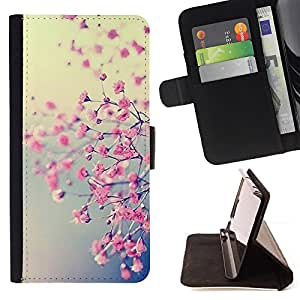For Sony Xperia Z1 L39 Spring Pink Floral Yellow Tree Cherry Blossom Leather Foilo Wallet Cover Case with Magnetic Closure