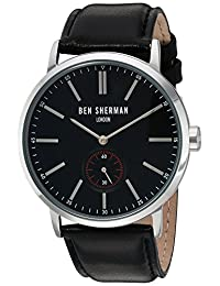 Ben Sherman Men's 'Big Portobello Social' Quartz Stainless Steel and Leather Automatic Watch, Color:Black (Model: WB032BA)