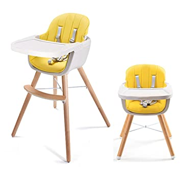 Asunflower Wooden High Chair 3 In 1 Convertible Modern Highchair Solution With Cushion Adjustable Feeding High Chair For Toddlerinfantbaby