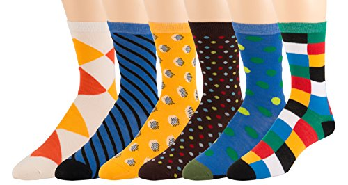 Men's Pattern Dress Funky Fun Colorful Socks 6 Assorted Patterns Size 10-13 (6 Pairs) (3217)