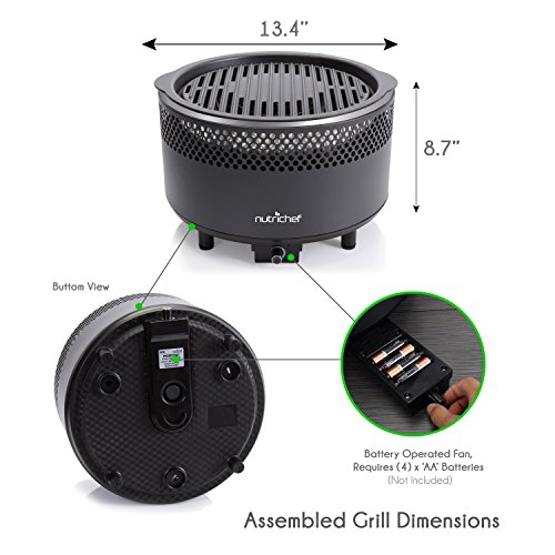 NutriChef Upgraded Charcoal BBQ Grill - Smokeless Portable Outdoor Stainless Steel Compact Easy Cleaning Heavy Duty - Battery Powered W/ Grilling Rack Coal Basket Ignition Tray & Box Set - PKGRCH41 by NutriChef (Image #3)'