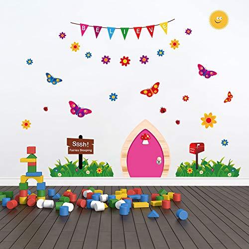 ufengke Fairy Door Wall Stickers Butterflies Grass Vinyl Wall Art Decals for Girls Bedroom Nursery