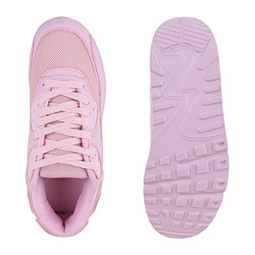 Stiefelparadies Damen Sportschuhe Modische Laufschuhe Sneakers Low Runners Trainers Leder-Optik Stoffmix Schuhe Profilsohle Bunte Freizeitschuhe Flandell Rosa