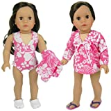Doll Swimwear Pink Hawaiian Doll Bathing Suit & Cover Up 2 Pc. Set, Fits 18 Inch American Girl Dolls