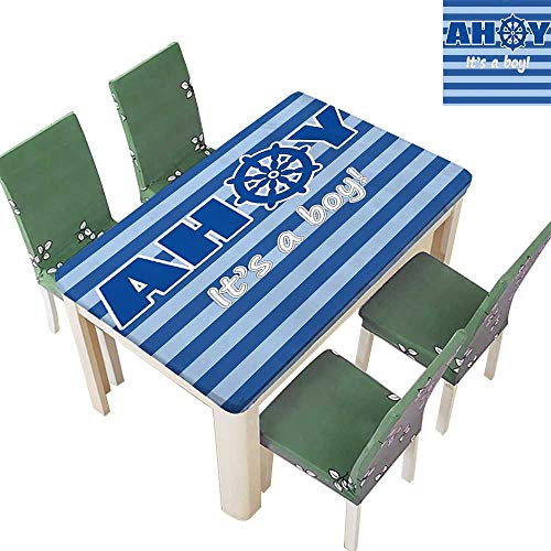 (Printsonne Indoor/Outdoor a Boy Baby Shower New Birth Announcement Marine Wheel Striped Backdrop Light Blue Kitchen Tablecloth Picnic Cloth 52 x 108 Inch (Elastic Edge))