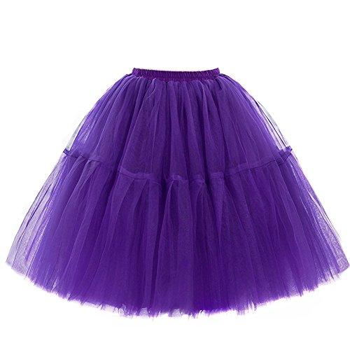SCFL adulto de lujo suave de la gasa de la enagua de tul falda del tutú de las mujeres del tutú del ballet del traje de la danza de múltiples capas de la enagua de la falda hinchada Dark-purple
