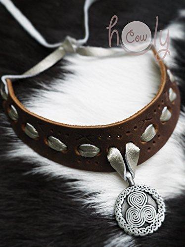 Handmade Leather Celtic Tribal Metal Pendant Necklace