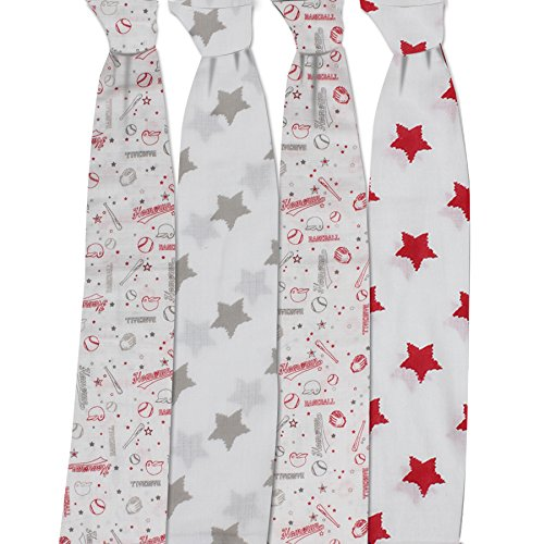 Bacati Baseball Set of 4 Muslin Swaddling Blankets, Red/Grey