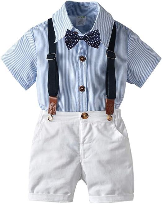 Conjunto de Ropa de Bebé Niño Camisa + Tirantes Shorts + Pajarita Conjunto de Traje de Caballeros: Amazon.es: Ropa y accesorios