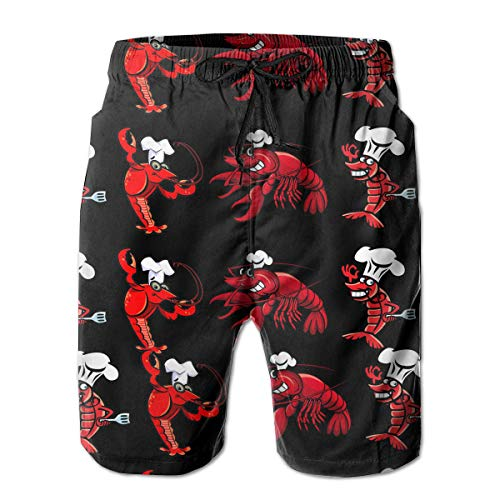 TARDIGA US Big Lobster Men Beach Shorts Swim Trunks Quick Drying Board Trunks with Pockets