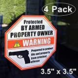 """Front Self Adhesive Vinyl Outdoor/Indoor (4 Pack) 3.5"""" X 3.5"""" PROTECTED BY ARMED PROPERTY OWNER Home Business Window Door Gun Handgun Warning Signs Alert Sticker Decals"""