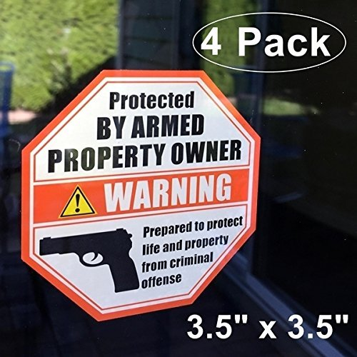 "Front Self Adhesive Vinyl Outdoor/Indoor (4 Pack) 3.5"" X 3.5"" PROTECTED BY ARMED PROPERTY OWNER Home Business Window Door Gun Handgun Warning Signs Alert Sticker Decals"