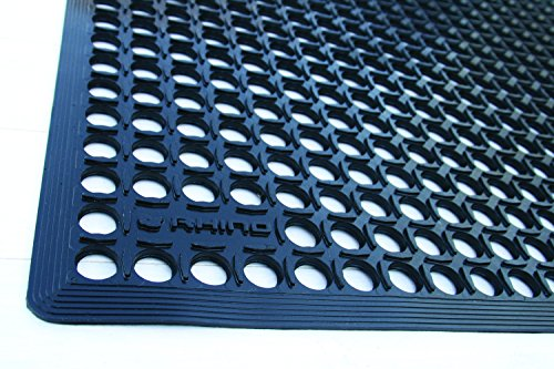 Mat Resistant Grease (Rhino Mats CT3660B Comfort Tract Resilient Grease-Resistant Rubber Anti-Fatigue Mat, 3' Width x 5' Length x 1/2