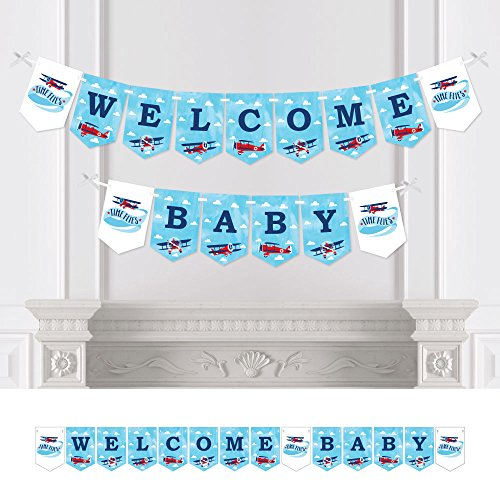 (Big Dot of Happiness Taking Flight - Airplane - Vintage Plane Baby Shower Bunting Banner - Party Decorations - Welcome Baby)