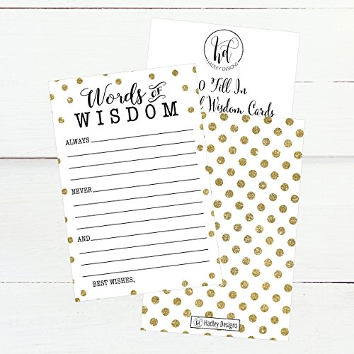 50 Gold Dot Words of Wisdom Advice Cards, Use As Graduation Advice Cards, Marriage or Wedding Advice Cards, Guest Book Alternative, Bridal or Baby Shower Party Games, Boy or Girl Baby Predictions Photo #5