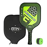 A11N SPORTS HYPERFEATHER Pickleball Paddle- Graphite Surface| Composite Polymer Honeycomb Core| Comfortabe Cushion Grip, 8 oz| Noise-reduction, Neoprene Protective Case & Replaceable Sweatband (Green)