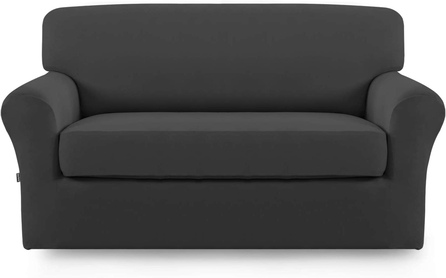 Stretch Sofa Slipcover,2-Piece Sofa Cover Furniture Protector Couch Micro Fiber Super Soft Sturdy with Elastic Bottom Pets,Kids,Children,Dog,Cat(Loveseat,Dark Gray)
