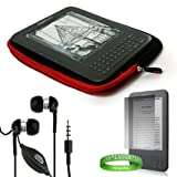 Quality Amazon Kindle 3 ( Wifi Only , Wifi + 3G ) ( Latest Generation ) Accessories Kit: Jet Black with Ruby Red Carrying Sleeve With Extra Pocket + Kindle Earphones with Microphone + Custom Cut Kindle 2 Screen Protector + A LiveLaughLove Wrist Band!!!