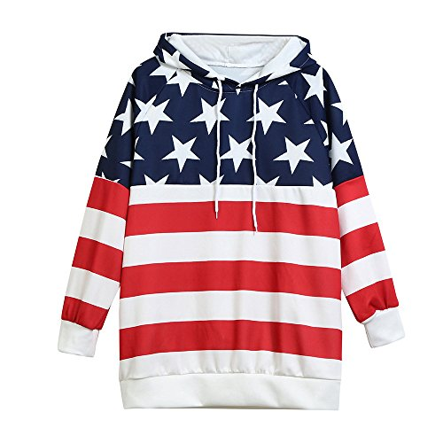 Orangeskycn Autumn Winter Unisex Fashion American Flag Print Pockets Slim Pullover Women Hoodie Sweatshirt Red